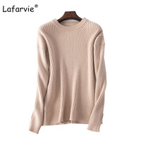 Lafarvie 2017 High Quality Autumn Winter Knitted Sweater Women Pullover O Neck Sweater Loose Warm Soft
