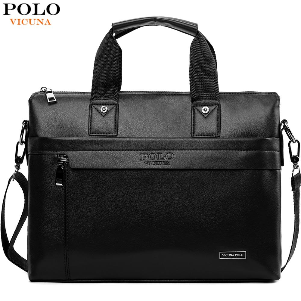 VICUNA POLO Casual Business Man Bag Simple Design Solid Leather Briefcase Bags For Men Laptop Shoulder Bags Mens Handbag