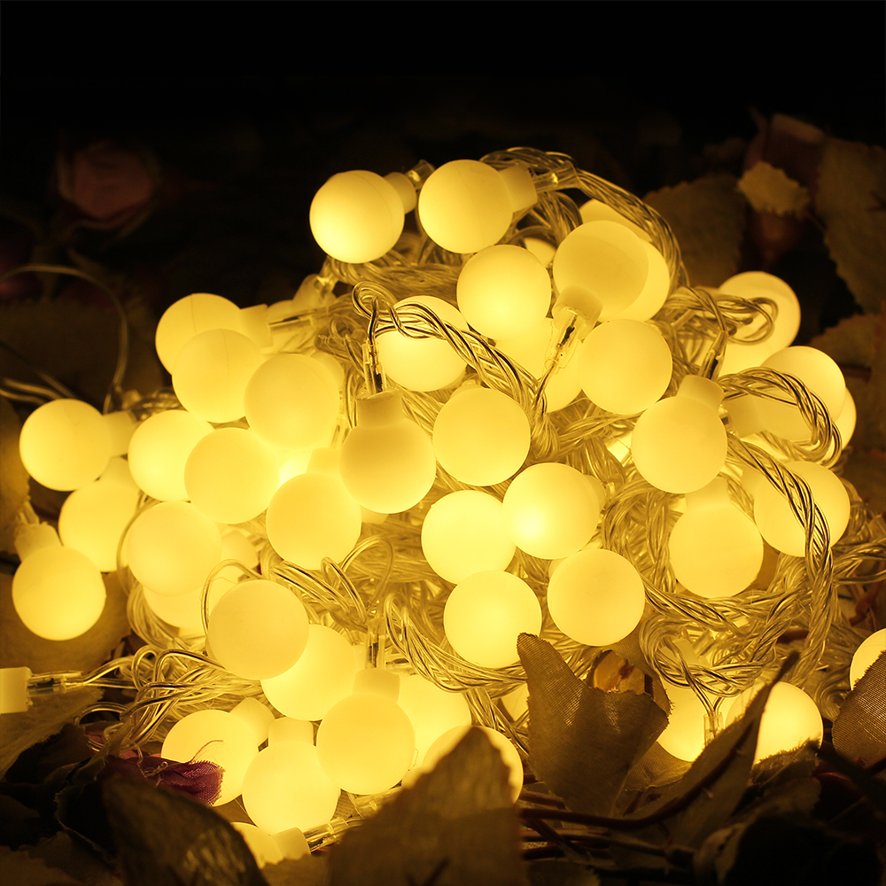 220V New year Christmas <font><b>Light</b></font> <font><b>10M</b></font> <font><b>100LED</b></font> Milky Ball LED Fairy String <font><b>Light</b></font> Indoor & Outdoor Garden,Party,Wedding Holiday <font><b>Lights</b></font> image