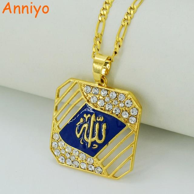 Подвеска и ожерелье Anniyo с пророком Аллах для женщин/мужчин, ожерелья золотого цвета с исламием, стандартные товары #027506