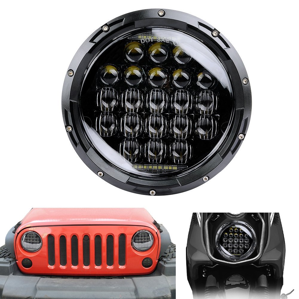 Pair 7 Inch 126W 5D Round Daymaker LED Projector Headlight for Harley Davidson Motorcycle Jeep Wrangler LED Headlamp 2pcs 7 inch headlight 75w 5d round daymaker led projector headlight for harley davidson motorcycle