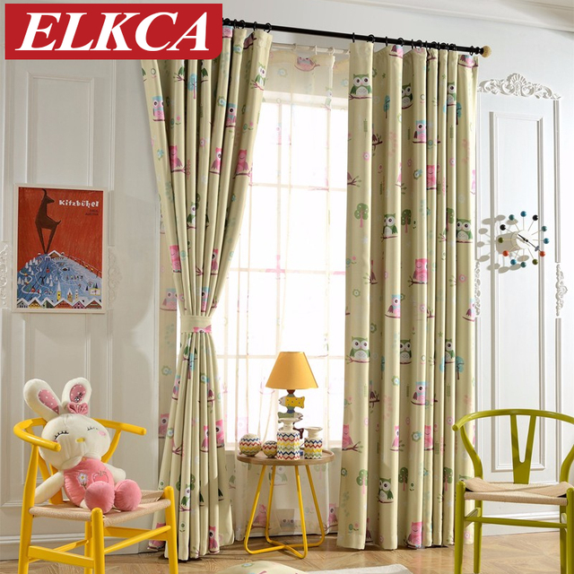 Owl Kids Curtains For Children Blue Thick Owl Printed Blackout Curtains For  The Bedroom Window Curtains