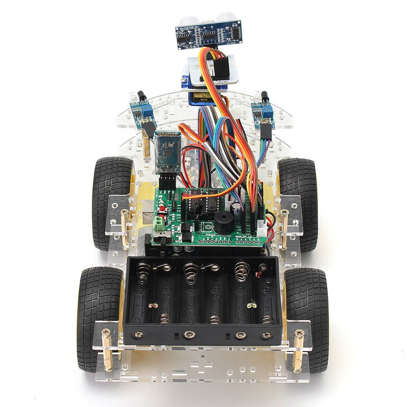 Smart Car Robot Tracking Electronics Motor Car Chassis Kit 4WD Ultrasonic Module Arduino MCU DIY Kit Speed Encoder Battery Box transparency acrylic n20 4wd two layer smart car chassis robot diy kit