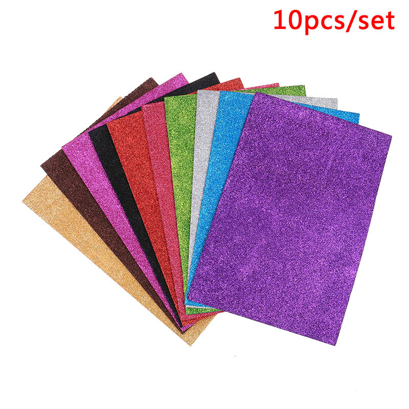 10PCS/Set A4 Glitter Paper Self-Adhesive Sponge Paper Flash Gold Handcraft Foam Paper Sticker Sheets DIY Xmas Home Decoration