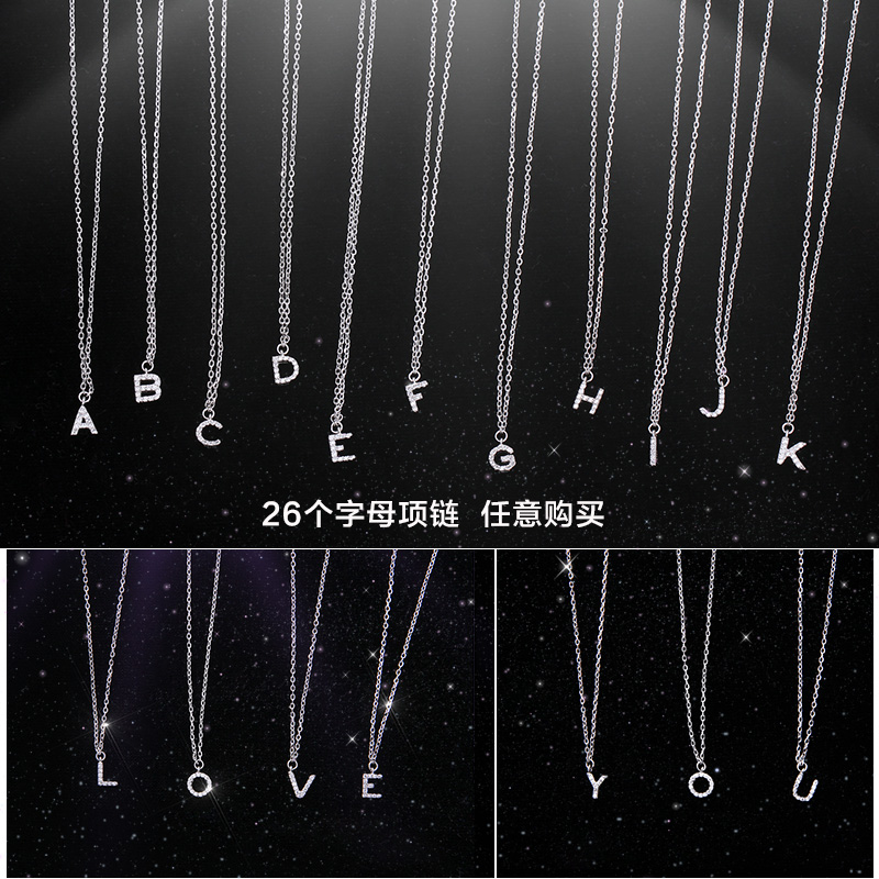 Luxury Brand New 26 Letters Necklace Pendant Real 925 Sterling Silver Inlay AAAAA Cubic Zircon Necklace Pendant For Women