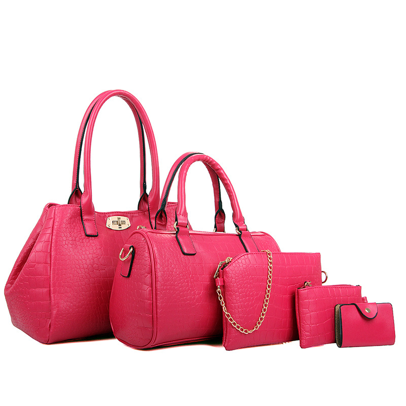 ФОТО 2017 New Arrival 5 PCS/Set Women Crocodile Pattern Bag Ladies Composite Bag Women Messenger Bags Girls Handbags Brand Sac Femme