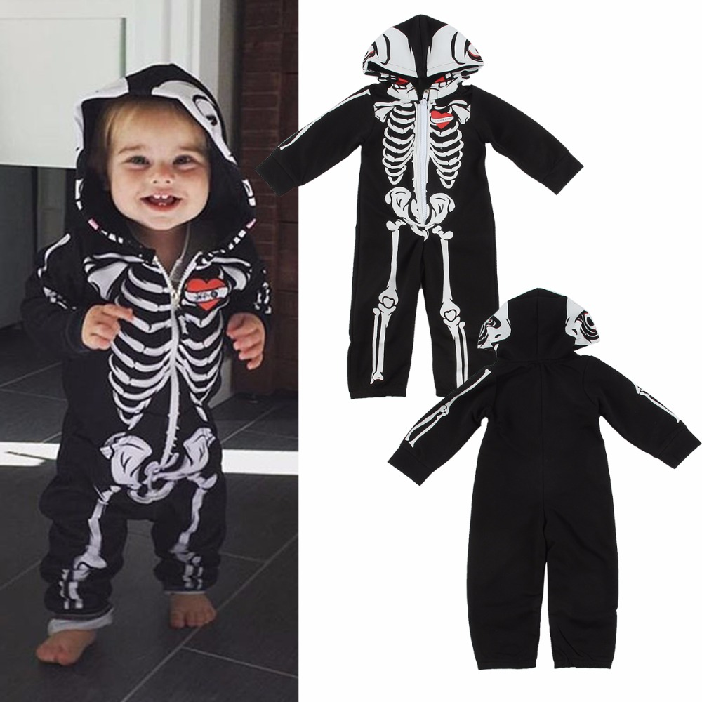 Puseky 0-24M Newborn Infant Baby Romper Long Sleeve Halloween Skull Clothes Zipper Bebes Cotton Rompers Playsuit One Pieces puseky 2017 infant romper baby boys girls jumpsuit newborn bebe clothing hooded toddler baby clothes cute panda romper costumes