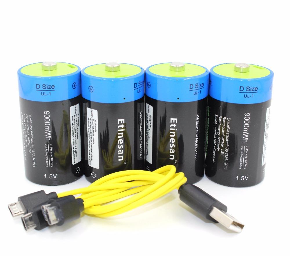 Prix pour 4 pcs/lot etinesan 1.5 v 9000 mah li-polymère rechargeable d taille batterie li-ion puissant usb batterie avec usb chargeing ligne