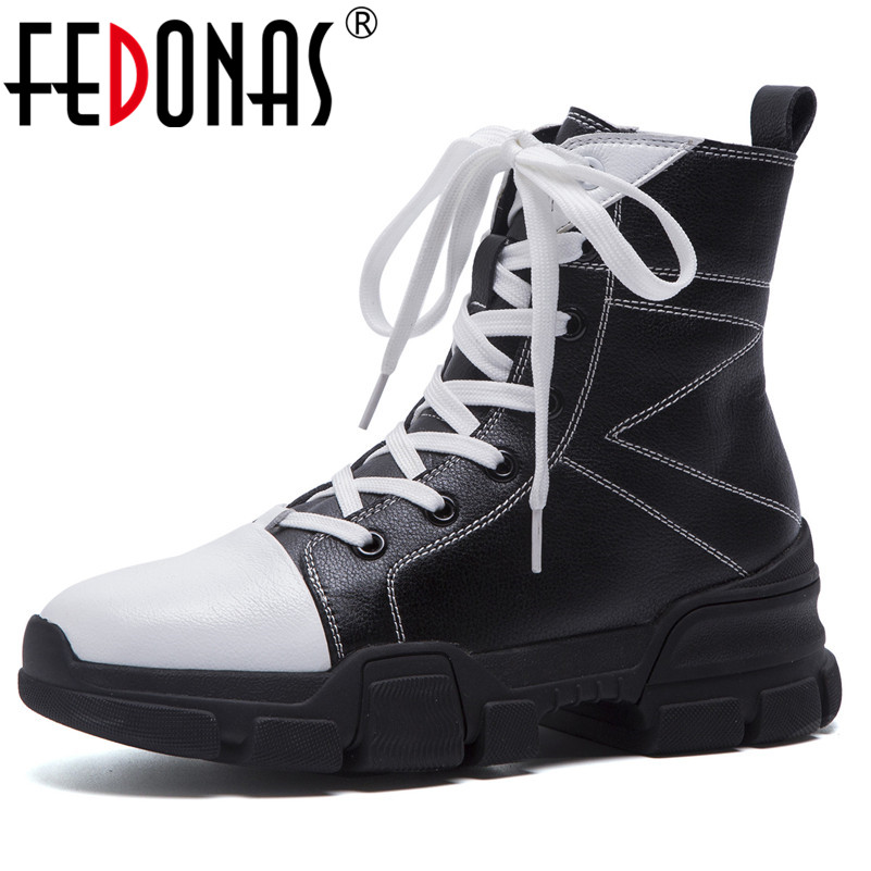 FEDONAS Fashion Brand Women Platforms Genuine Leather Ankle Boots Lace Up Patchwork Motorcycle Boots Female Wedges Heels Shoes new 2018 women genuine leather lace fashion platform wedge high heels shoes women lace up hidden wedges ankle boots patchwork