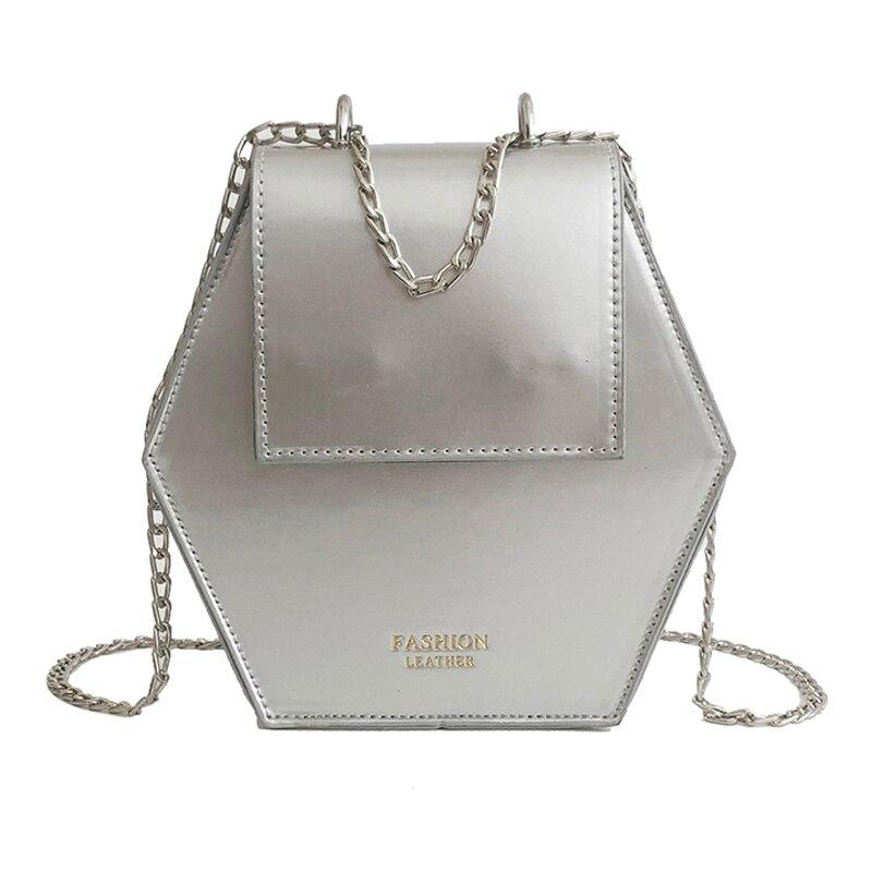 DCOS вычисляется Мода гексагональной Для женщин сумка цепи мини Сумки кожаная женская сумка клатч карман