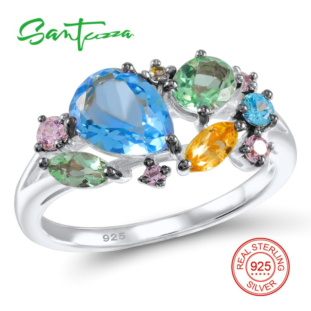 Silver Ring for Women Colorful Stones Ring Blue Crystal Pink Cubic Zirconia Ladies Ring Solid 925