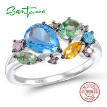 Серебряное кольцо для женщин цветными камнями кольцо синий кристалл розовый кубический цирконий дамы кольцо Solid 925 серебряное кольцо ювелирных изделий
