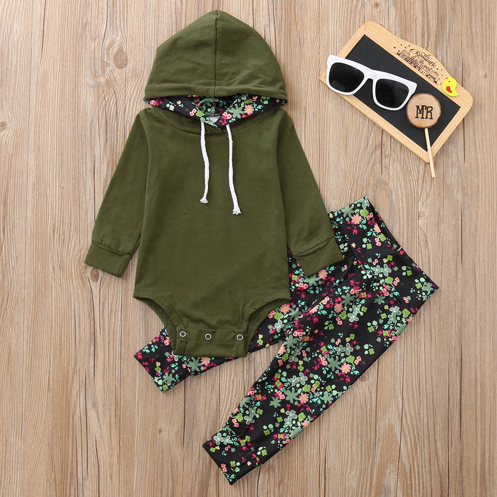 2019 Hot baby Autumn new baby boy clothes Children Baby Girls Long Sleeve Hooded Romper+Floral Print Pants Set clothing set