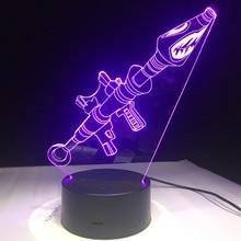 2018 3D Lamp Game Chug Jug Scar Rocket Launcher Gliding LED night light 7 Color Change Touch Mood Lamp Dropship