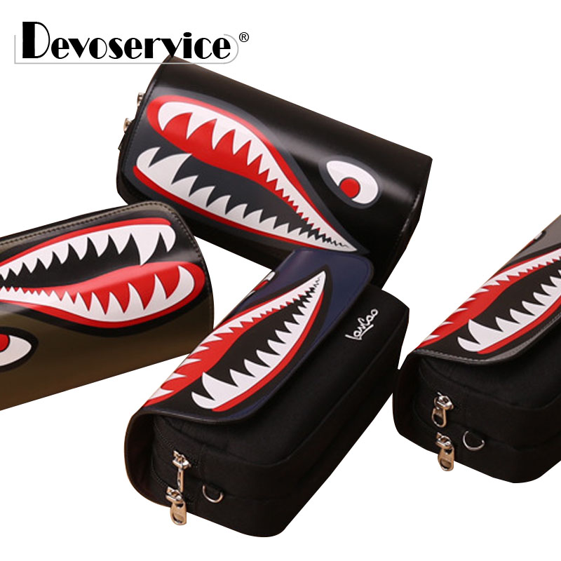 High Quality Cool Big Mouth Shark PU Pencil Case Large Capacity Pen Bag Stationery Kawaii Storage Organizer School Office Supply big capacity high quality canvas shark double layers pen pencil holder makeup case bag for school student with combination coded lock