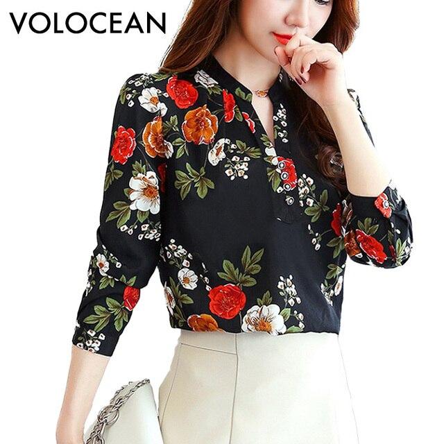 VOLOCEAN Горячая 2017 принт Для женщин блузка осень-зима рубашка blusas кимоно низ 8 цветов свободные блузки с длинными рукавами футболка плюс Размеры