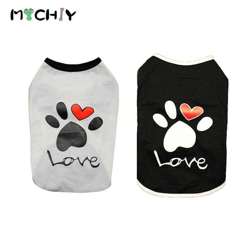 Vest Small Dog Cat Dogs Clothes Paw Print Heart Love Design Cotton T Shirt Pet Puppy Summer Apparel Clothes Dog Shirt Coat