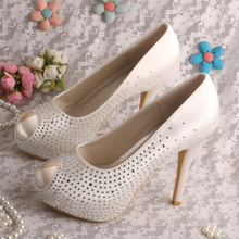Wedopus Custom Handmade Peep Toe Crystal Shoes Platform Pumps for Wedding Ivory Satin