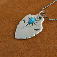 Indian Tribe Style Silver 925 Eagle Sun Shield Tag Pendant For Necklace Heavy Oxide Sterling Silver 925 Cool Jewelry Accessory