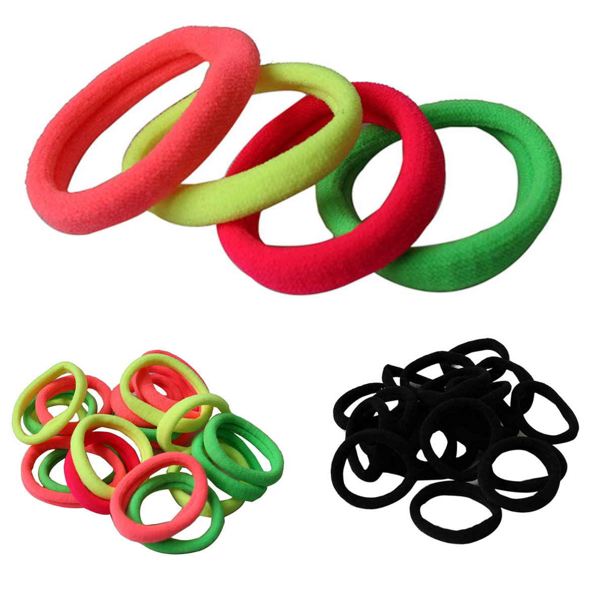 10pcs Hairdressing Tools Black Rubber Band Hair Ties/Rings/Ropes Gum Springs Ponytail Holders Hair Accessories Elastic Hair Band