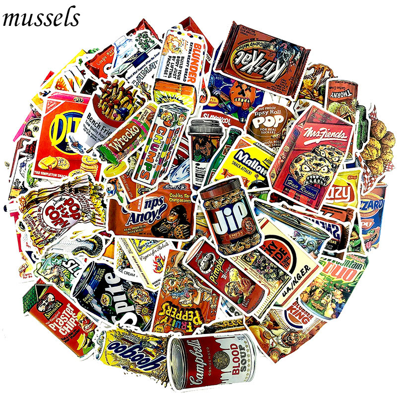 75pcs/lot Snacks And Drinks Packaging Stickers For Skateboard Laptop Luggage Fridge Phone Toy Car Styling Doodle Car Sticker Fixing Prices According To Quality Of Products Classic Toys
