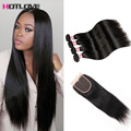Peruvian Virgin Hair With Closure 8a Straight Human Hair 4 Bundles With Closure Peruvian Straight Virgin Hair With Lace Closures