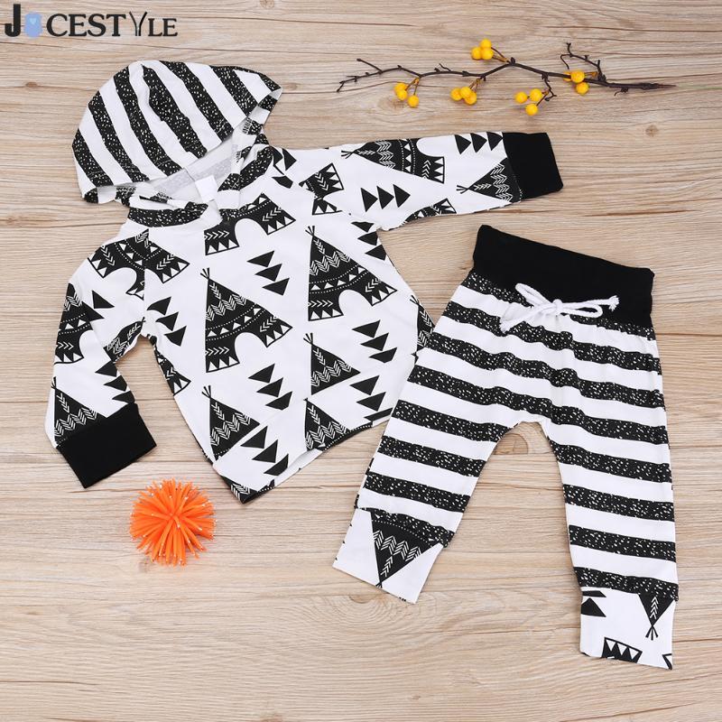 2pcs 2017 New autumn baby Newborn Boy Girl clothes set Printed Hooded T-shirt Tops + Striped Pants Set