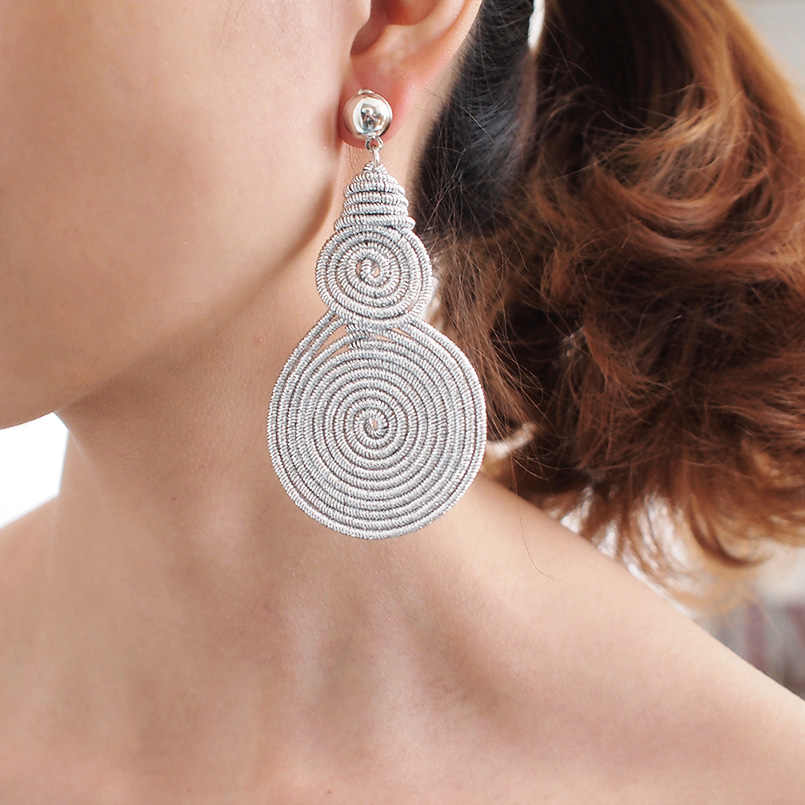 MANILAI Bohemian Alloy Spiral Round Statement Earrings Women Vintage Metal Drop Dangle Earrings Fashion Jewelry Wholesale 2019