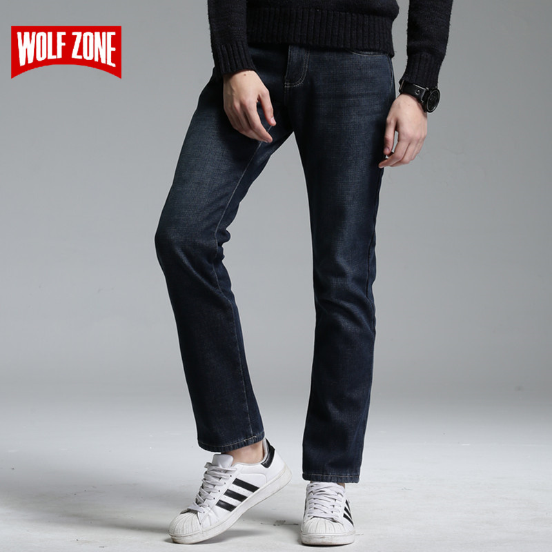 Winter Fleece Jeans Men Top Fashion Homme Mens Famous Brand Clothing Pants Special Offer Cotton Solid Mid Full Length