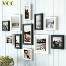 11 Pcs Nordic Style Natural Wood Photo Frame Photo Black and White Color,Cheap Wood Wall Art Picture Frames Set for Living Room(China)