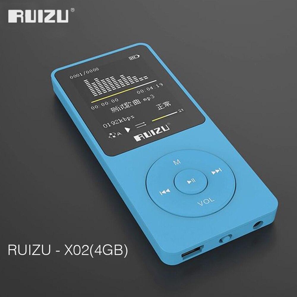 2016 100% Оригинальная английская версия ультратонкий MP3 плеер с 4 Гб памяти и 1,8 дюймовым экраном может воспроизводить 80 h, оригинальный RUIZU X02