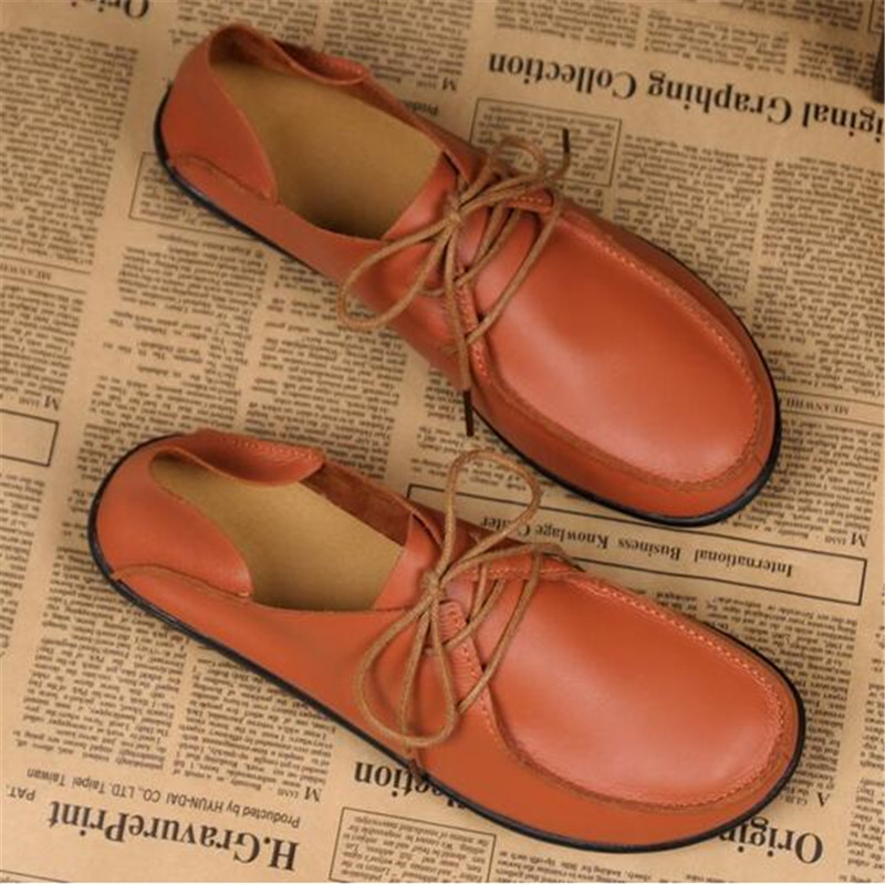 Shoes Woman 2018 Genuine Leather Women Shoes Flats 3 Colors Loafers cow Slip On Womens Flat Shoes Moccasins Plus Size 35-41