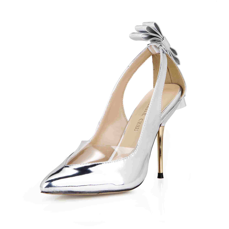 CHMILE CHAU Sexy Party Shoes Women Pointed Toe Stiletto High Heels Bowtie Ladies Pumps Zapatos Mujer Plus Sizes 10 3845D 7d in Women 39 s Pumps from Shoes