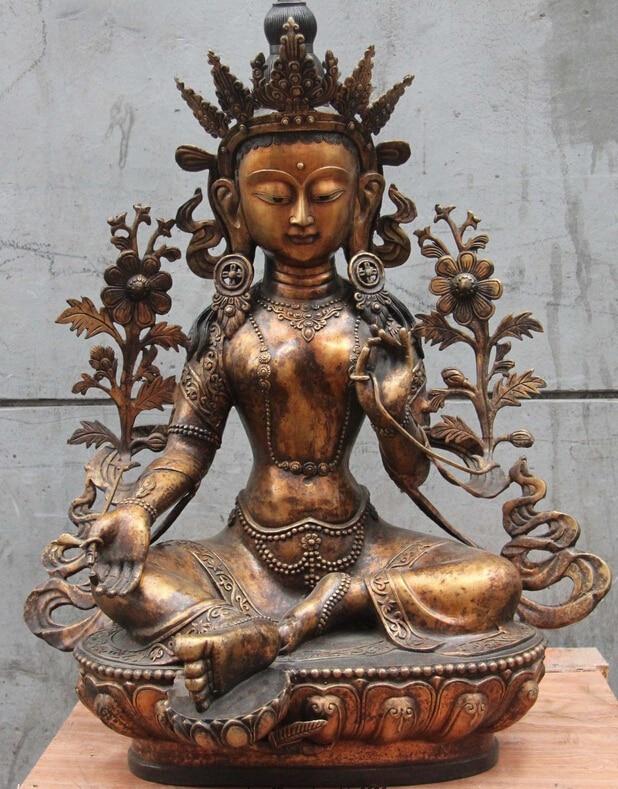 S07141 Tibet bouddhisme Fane ancienne cuivre Bronze vert TaRa kwan-yin GuanYin bouddha StatueS07141 Tibet bouddhisme Fane ancienne cuivre Bronze vert TaRa kwan-yin GuanYin bouddha Statue