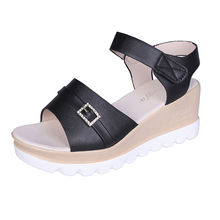 YeddaMavis Womens Shoes Women Sandals 2019 Summer Fashion Slope High Heels One Word Buckle Thick Bottom Flats Beach Shoes Woman цены онлайн
