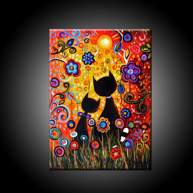 Bright Colors Beautiful Wall Decoration 100 Handmade High Quality Abstract Flowers And Cats Oil Painting On Canvas For Decor In Calligraphy From