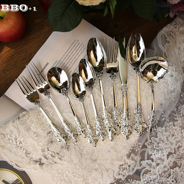 Luxury Western Silverware Cutlery Silver Dinnerware Set Dinners set Steak Knife Fork Coffee teaspoon Kitchen Tableware & Luxury Western Silverware Cutlery Silver Dinnerware Set Dinners set ...