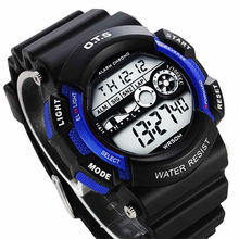 OTS TOP Brand Fashion Boys and Girls Kids Alarm Date Children's Waterproof Digital Led Watch Sports Stopwatch Wristwatches
