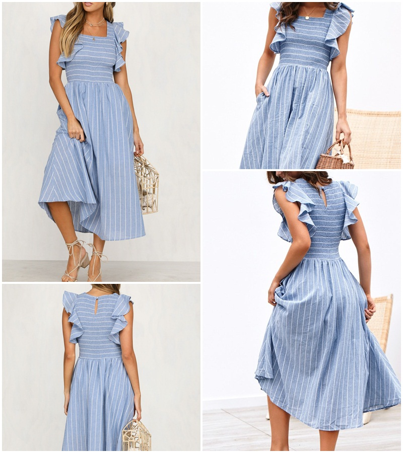Vintage Ruffles Blue Striped Elegant Dress 1