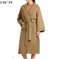 LXMSTH Winter Long Wool Coat Women Streetwear Vintage Turn Down Collar Slim Womens Woolen Coat Belt