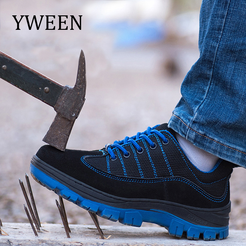 YWEEN New Men Safety Work Boots Fashion Autumn Breathable Mesh Steel Toe Casual Shoes Mens Labor Insurance Puncture Proof Shoes summer breathable mesh work safety shoes steel toe caps work safety puncture proof boots for men outdoor casual working shoes