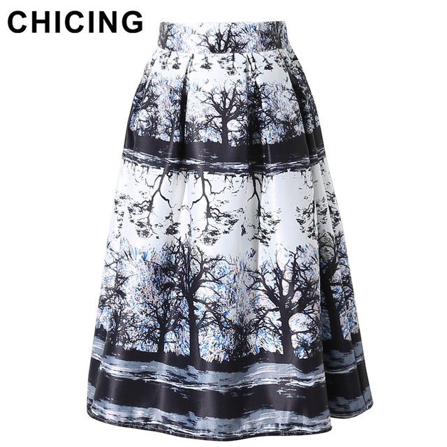 CHICING Tutu Skirt Women 2016 Summer Vintage Forest Tree Print High Waist Pleated Midi Skater Flared Knee Length Skirts A1602013