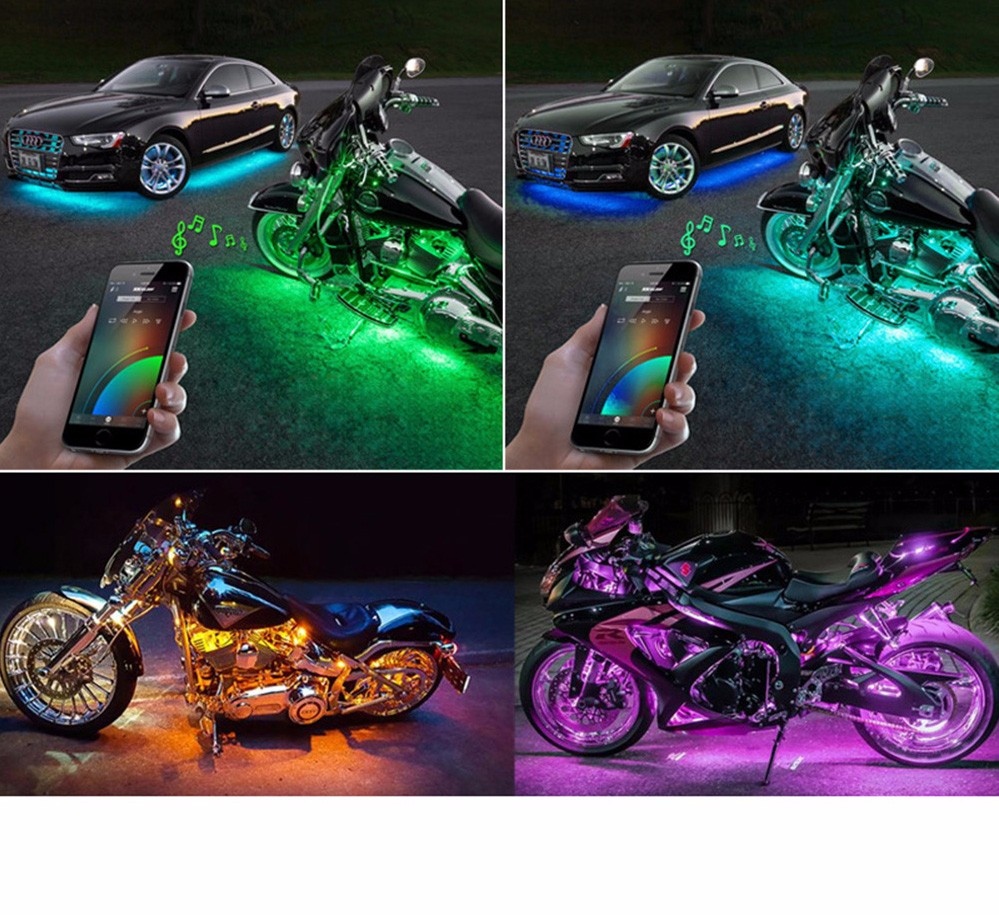 RGB LED Wireless Remote Control Car Motorcycle Light Atmosphere Lamp with Smart Brake Light Accent Neon Style Light Kit 2 4g wireless control 360 rgb color neon glow interior underdash foot floor seat accent ambient light for volvo s40 s40l