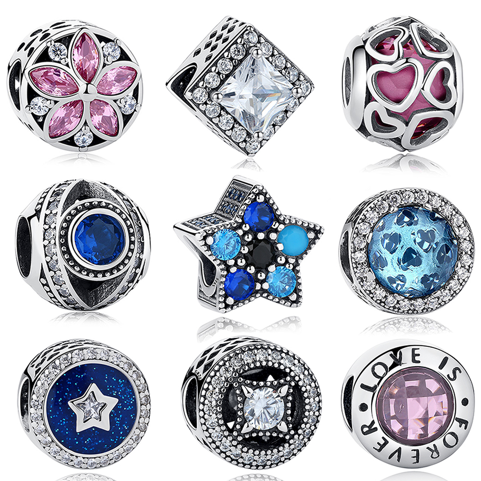 100% Real 925 Sterling Silver Crystal Openwrok Heart Star Charms Beads Fit Pandora Charm Bracelet Authentic Original Jewelry