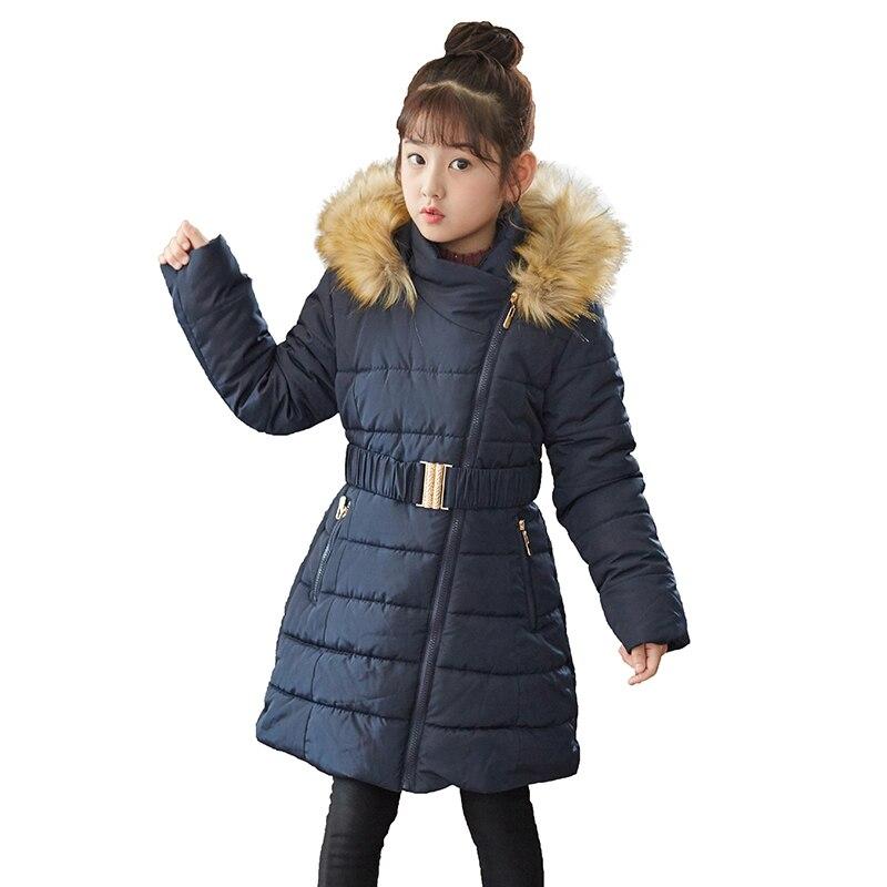 Mädchen Winter Mantel 2018 Kinder Dicken Parka Mantel Mit Kapuze Pelz Kragen Warme Kleidung Kinder Baumwolle Gepolsterte Jacken Für Mädchen 6 -14 Jahre üBerlegene Leistung