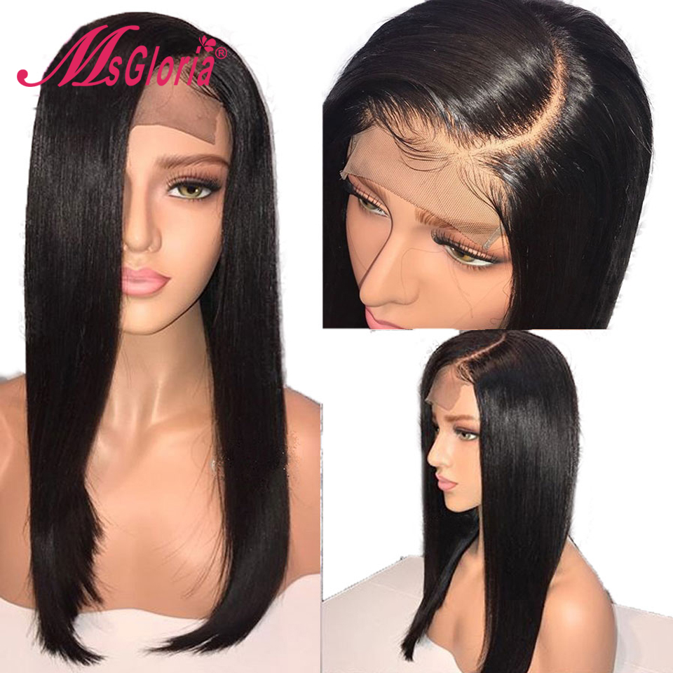 Full Lace Human Hair Wigs With Transparent Lace For Women Brazilian Straight Remy Hair Wig With