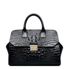 QISU Ladies Embossed Crocodile Leather bags women's classic Top Handle Handbags