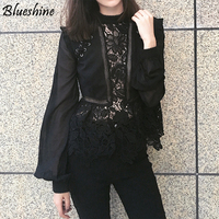 Self Portrait Elegant White Lace Floral Billowy Sleeves Sheer Floral Lace Piece Flounced Sleeve Floral Top