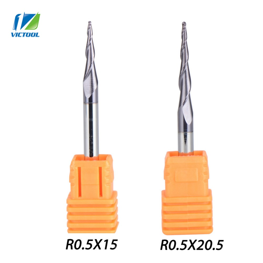 2pcs/lot Tapered Ball Nose End Mill R0.5*D4*50L*2F 15mm and 20.5mm flute solid carbide milling cutter engraving grinding bit 5pcs 2 flute spiral ball nose end mill engraving bit 22mm milling cutter flute bit for pvc hard wood woodworking machine mayitr