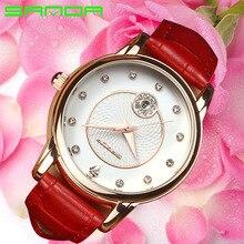 Sanda marca para mujer relojes de señoras vestido de la manera rhinestone reloj de cuarzo reloj de pulsera de cuero de las mujeres simples para mujer reloj mujer